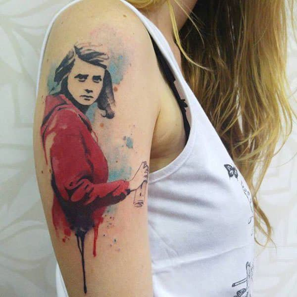 Astounding watercolor shoulder tattoo of girl with spray bottle for Artistic women