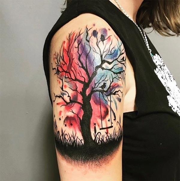 Astonishing swing on tree watercolor shoulder tattoo ideas for Girls