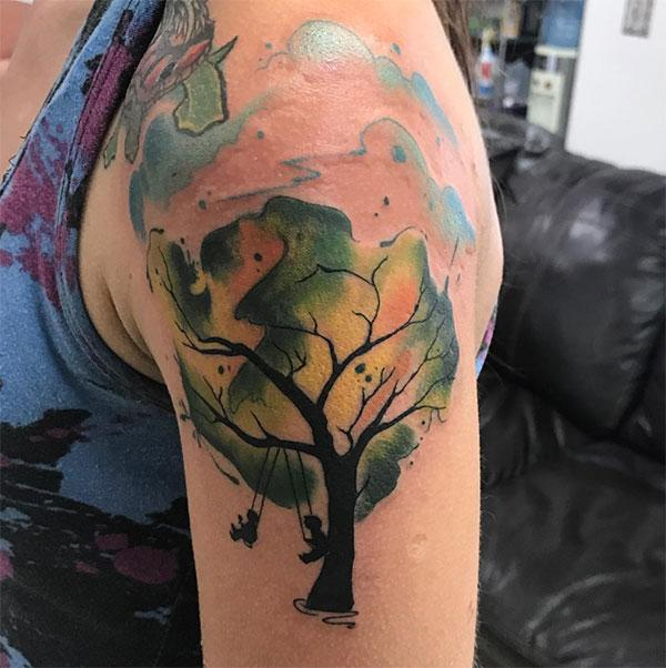 Riveting memories of childhood watercolor shoulder tattoo ink ideas for Girls