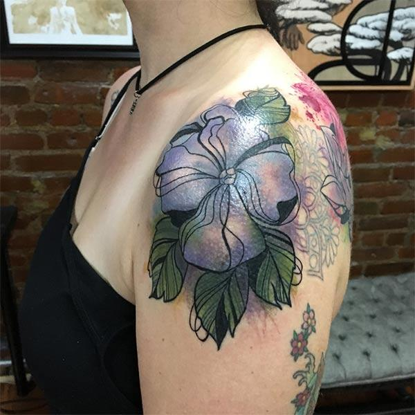 Elegant blue grey flowers with leaves watercolor tattoo ideas on shoulder for Girls