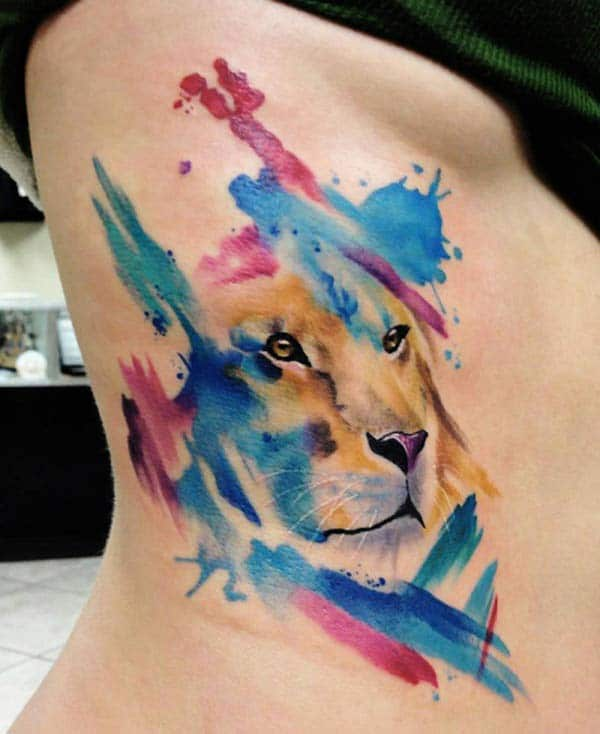 Majestique glaring lion watercolor side tattoo ideas for Women