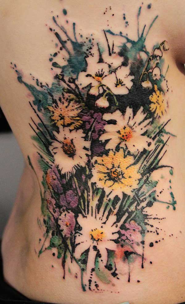 Aesthetically pleasing flower bouquet watercolor tattoo ideas on side for Fashionable girls