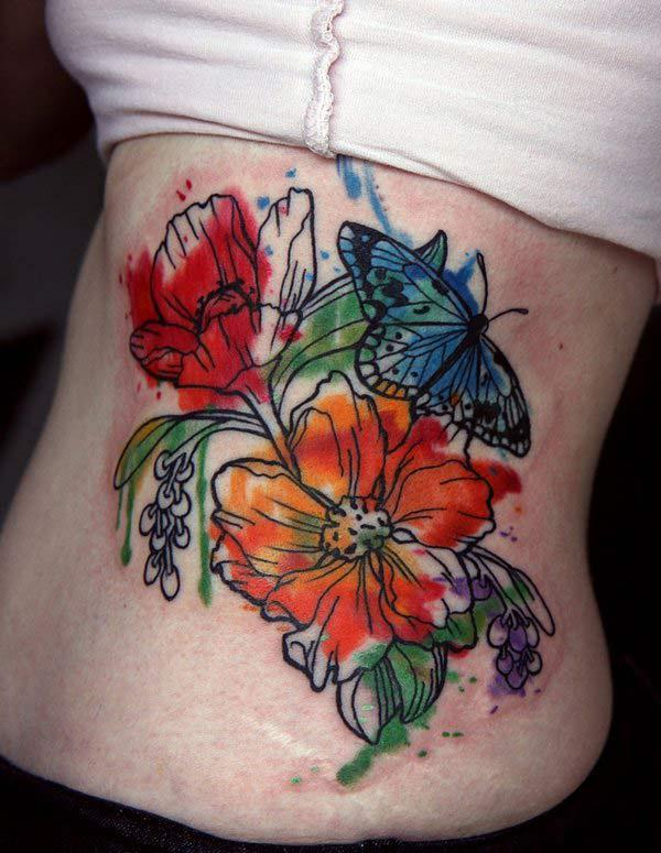 Side watercolor tattoo of Bright colored flowers butterfly for Girls