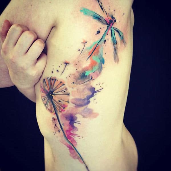 Dragon fly dandelion flower watercolor side tattoo ideas for Women