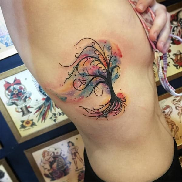 tangkal windblown gagasan samping watercolor tattoo Breathtaking keur Awewe ambisius