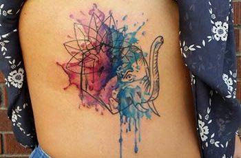 Watercolor Side Uwekaji Tattoo kwa Wasichana
