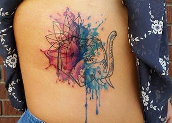 Watercolor Side Tattoo for Girls