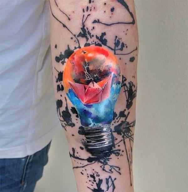 Cool and fascinating sailing paper boat inside bulb water color sleeve tattoos for boys