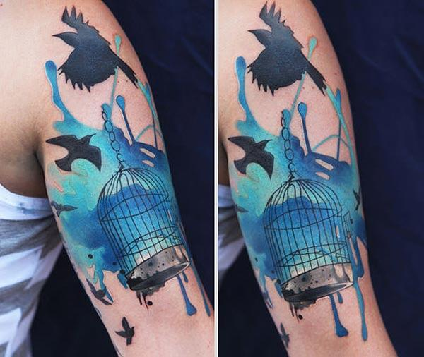 Catchy free flying bird cage water color sleeve tattoos- males and boys
