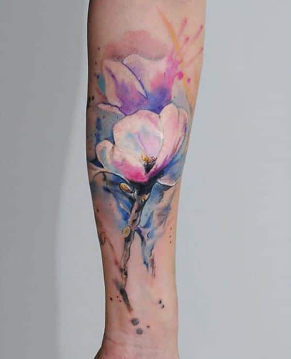 Awesome and radiant water color floral tattoo for male on sleeve