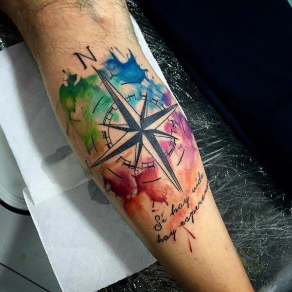 Colorful stylish compass cardinal direction sleeve tattoos for boys and men