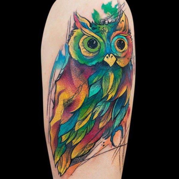 Funky lan google eyed owl water color design tattoo sleeve for men