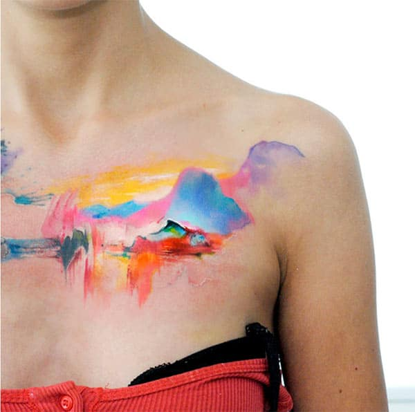 Brilliant colored Scenery watercolor front shoulder tattoo ideas for Girls and women