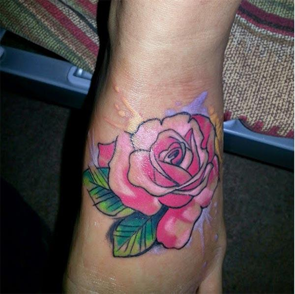 Enthralling Neo traditional rose watercolor leg tattoo ideas for Girls