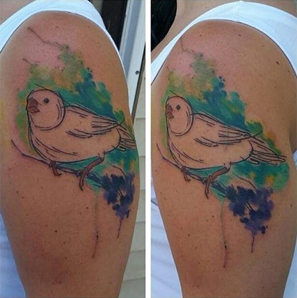 Elegant sketch line bird on branch tattoo designs on shoulder for Females