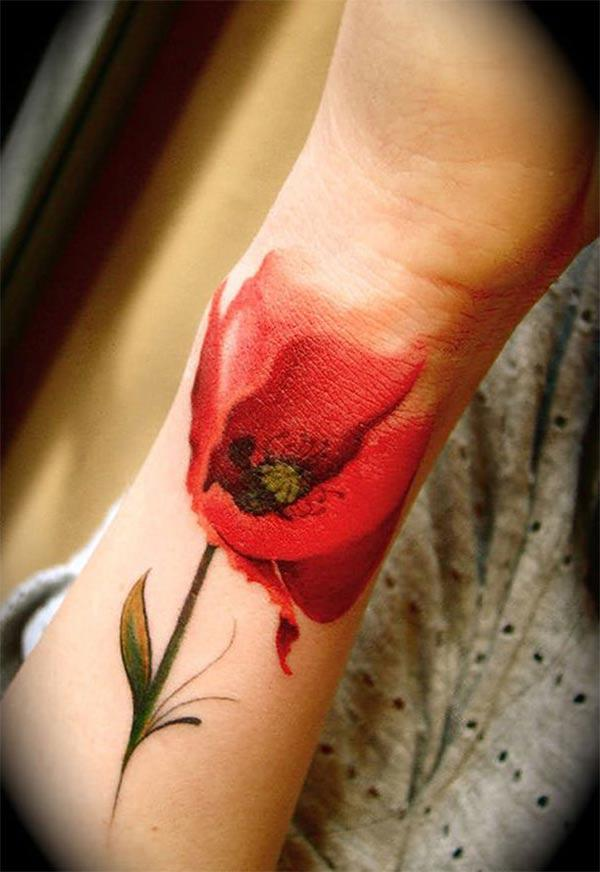 Eye-catchy graceful red flower watercolor hand tattoo design ng Women