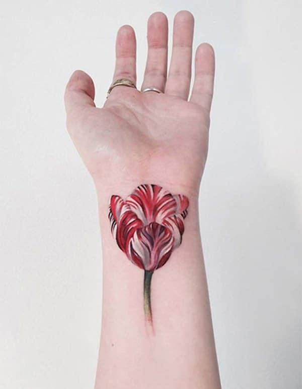 Glamorous Orchid flower watercolor hand tattoo designs for girls and women