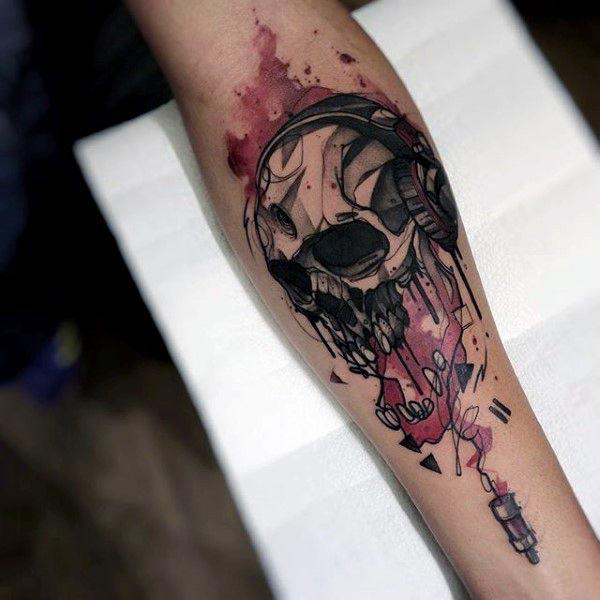 Striking and Vivid Forearm Water Color Ink Tattoo of Skull n Headphone ideas for boys