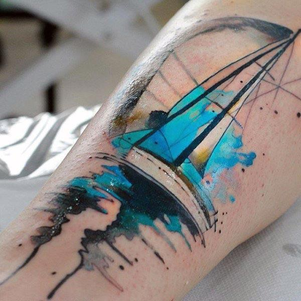 I-Level up ne-nautical water color ink tattoos emkhunjini wemikhumbi