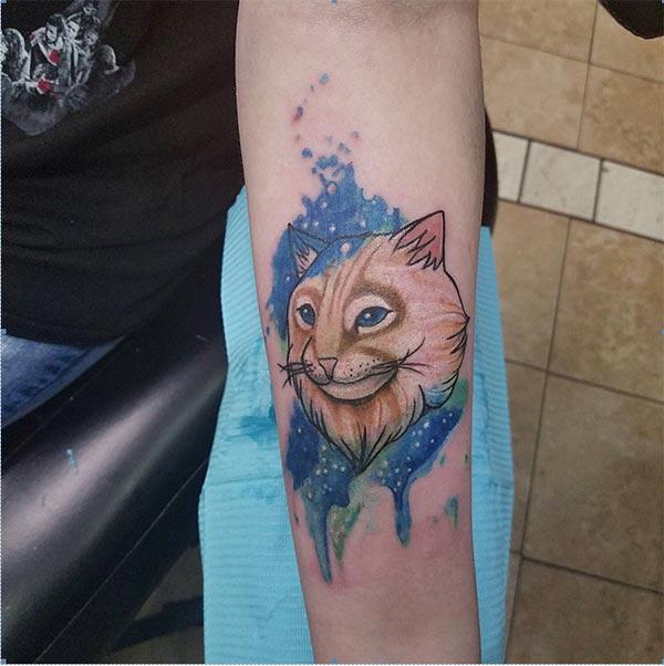 Funky Cat Water color ink Forearm Tattoo ideas for male furry feline lovers