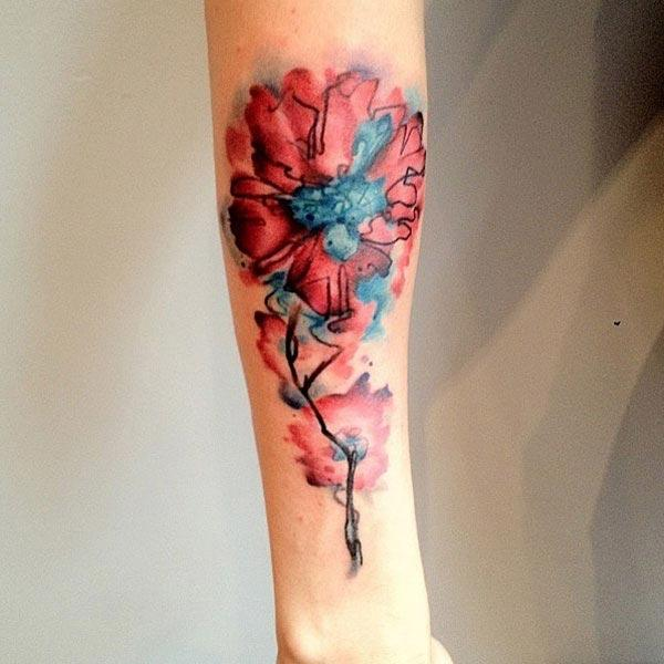 Strikingly elegant Red flower Water color ink forearm tattoo ideas for boys and men