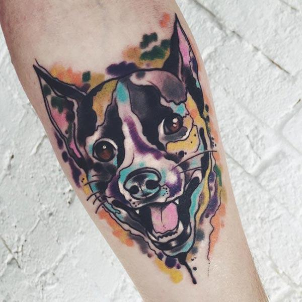 Adorable puppy Water color Ink forearm tattoo ideas for male Dog lovers