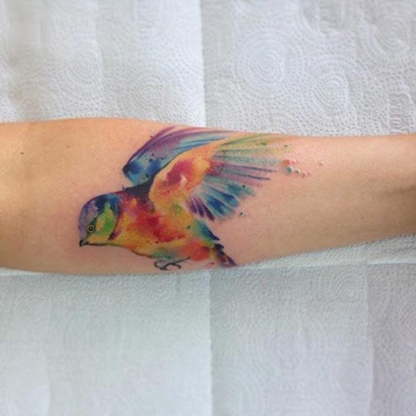 Vibrant free bird Water color Ink Forearm tattoo ideas for adventurous Boys