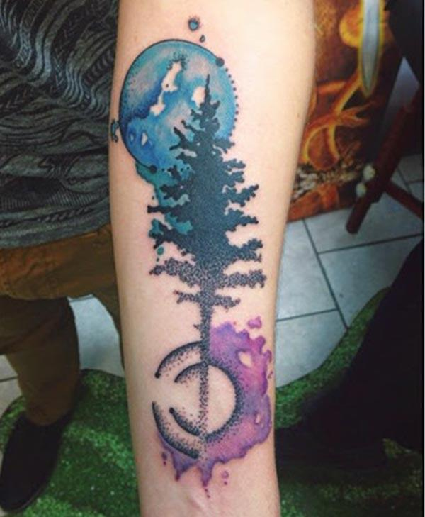 Tree water color ink forearm tattoo ideas for male night nature lovers