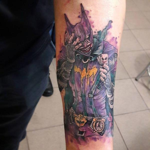 Chic-ish and vivid Batman Water color ink Arm tattoo ideas for Boys