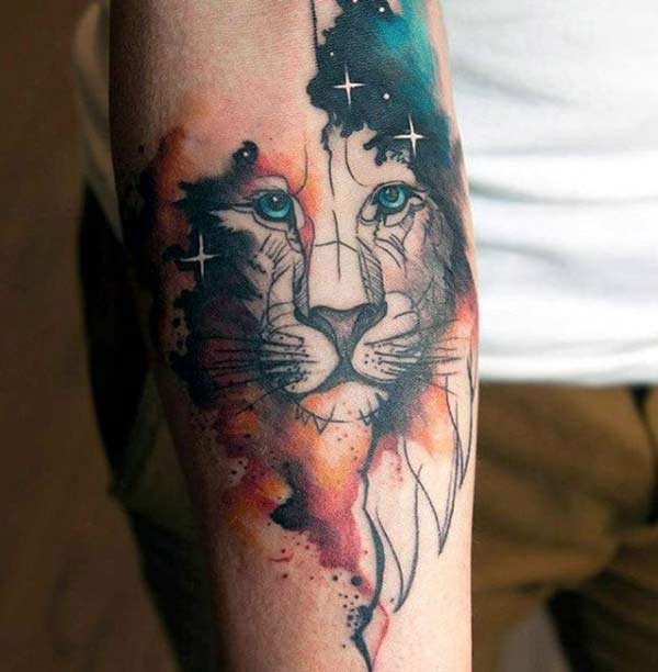 The Lion Water color ink Forearm tattoo ideas for men to silently display their ferocious personality