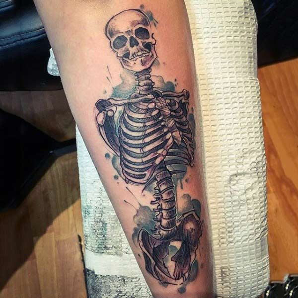 Wickedly cool Skeleton Forearm water color ink tattoo ideas for guys