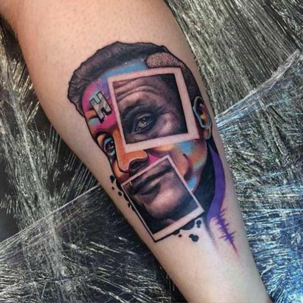 Funky Face Water color ink tattoo on forearm ideas for Boys