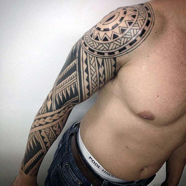 Authentic Polynesian tribal tattoo ideas on arm for Men