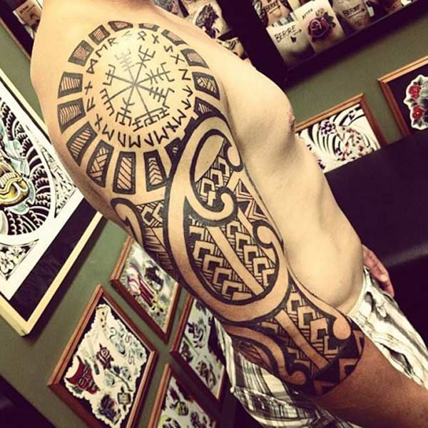 Geometric bold tribal tattoo ideas on arm for Men