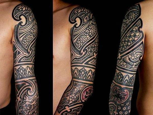 Black Solid geometric Polynesian fused Tribal tattoo designs for Boys and men