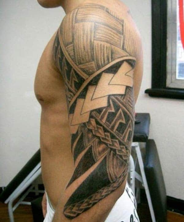 Fine lines Polynesian tattoo design on Arm for Men