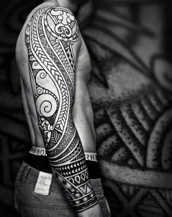 Kjeve slippe Hawaiian Tribal full-sleeve Tattoo ideer for menn