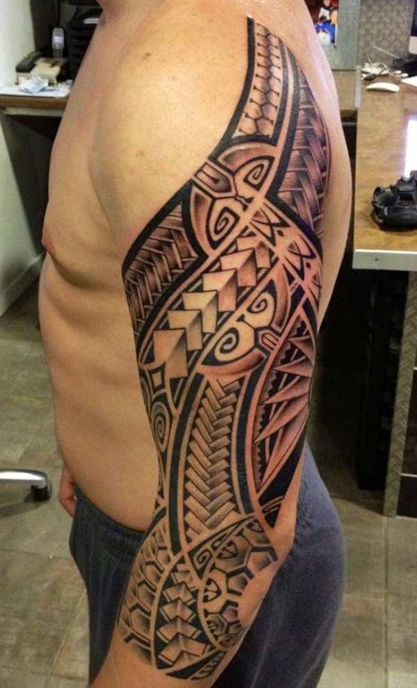 Captivating bold geometrical Polynesian Tribal tattoo ideas for Guys