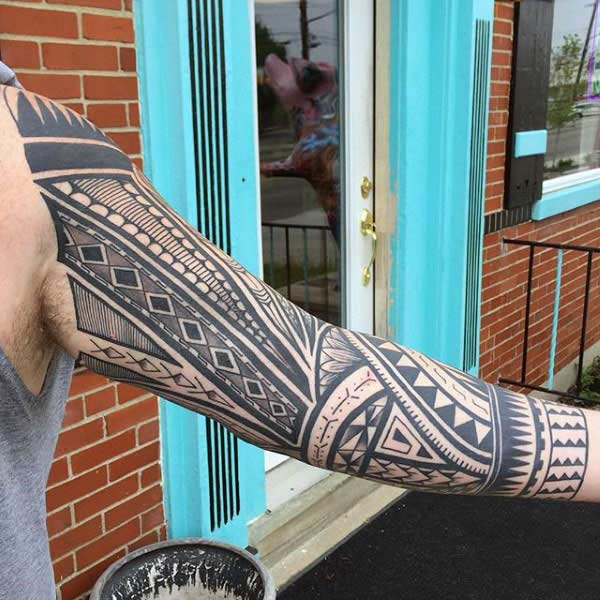 Padet kandel Polinésia Tribal tattoo desain keur Lalaki on Arm