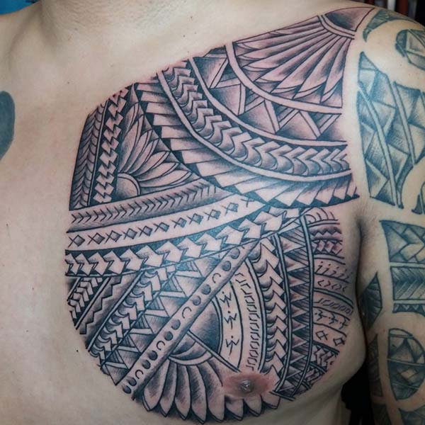 Incredible Bold Filipino Tribal Tattoo ideas on chest for Boys