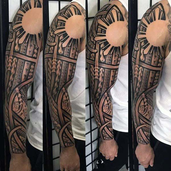 Exquisite looking Filipino Tribal Tattoo Designs on Arm for Men