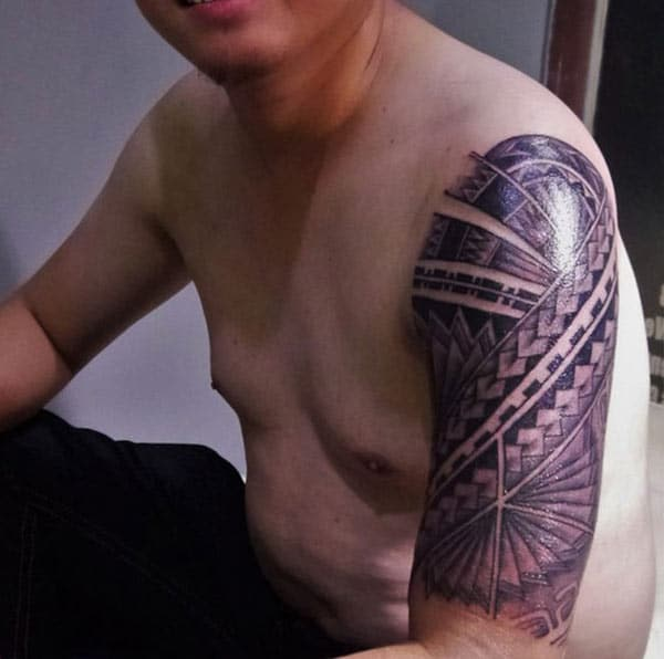 Superlative fine lines Filipino tribal tattoo ideas on Arm for Men