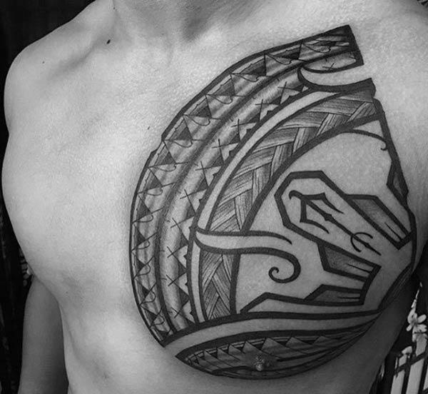 Elegant catchy Filipino tribal tattoo ideas on chest for Men
