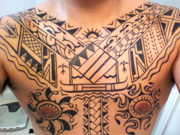 Prodigious artistic Filipino style tribal tattoo on chest for Boys and men