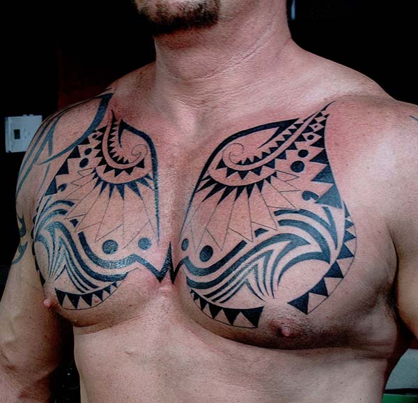 Charming ornamental tribal chest tattoo ideas for Men