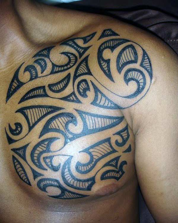 Impressive simple tribal chest tattoo designs for Guys