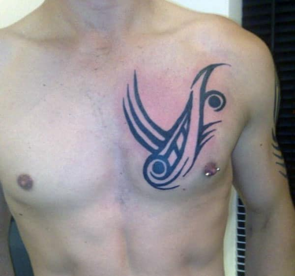 Black dark lined tribal chest tattoo ideas for boys