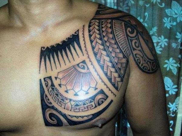 Spectacular Polynesian tribal chest tattoo ideas for Men