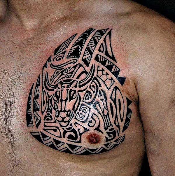 Men's Stunning bull head Polynesian tribal chest tattoo ideas