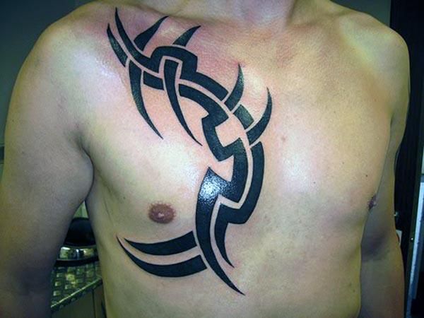 Aw-inspiring broad black lines tribal tattoo ideas on chest for Guys